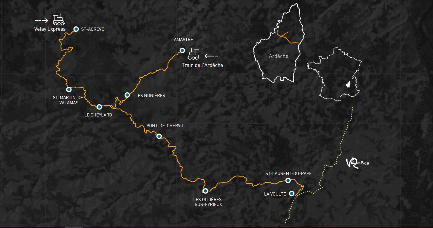 dolce via en Ardèche - carte du parcours. Illustratrion : dolce-via.com.