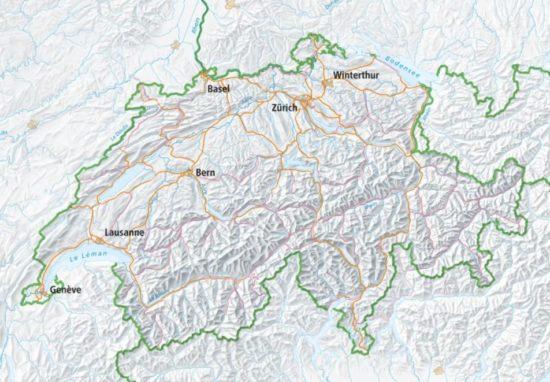 Carte de la Suisse à vélo