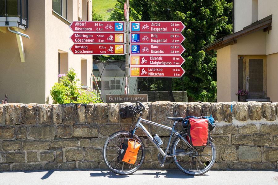 Andermatt, au croisement des EuroVelo routes n°17 et n°5
