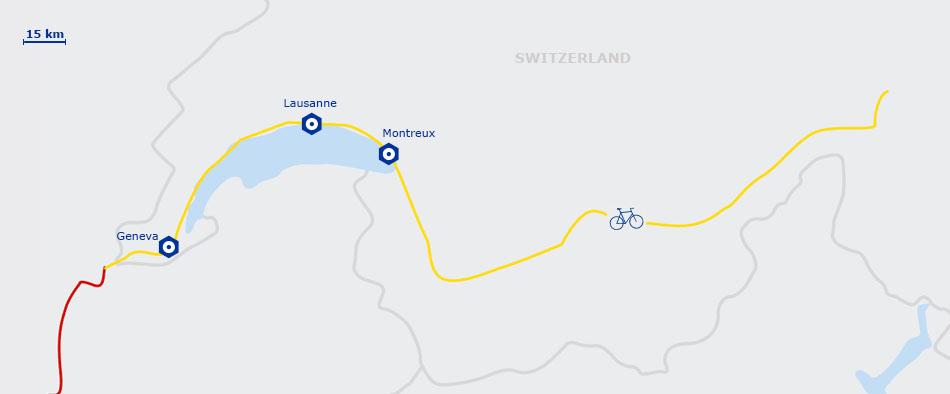 Carte de l'EuroVelo17 Suisse