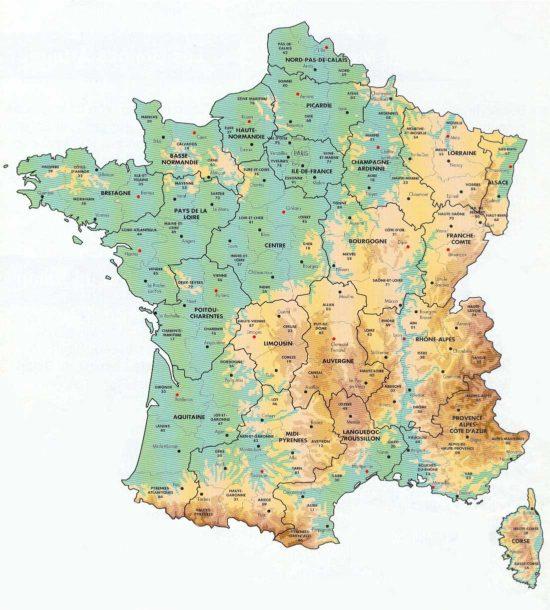 Carte de France. Crédit : bonjourlafrance.com